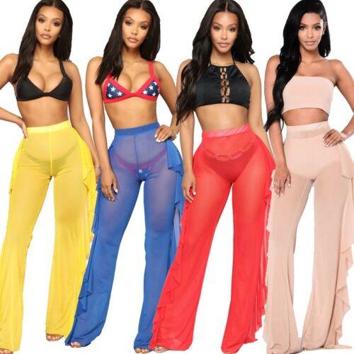 Sexy Women High Waist Long Pants See-through Sheer Flared Ruffle Mesh Beach Long Pant Summer Casual Transparent Trouser