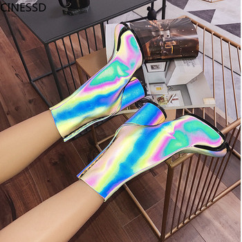 Split Toe Genuine Leather Women Ankle Boots Round Heels Reflective Bling Shoes Woman High Heels Short Boots Ninja Tabi Boots цена 2017
