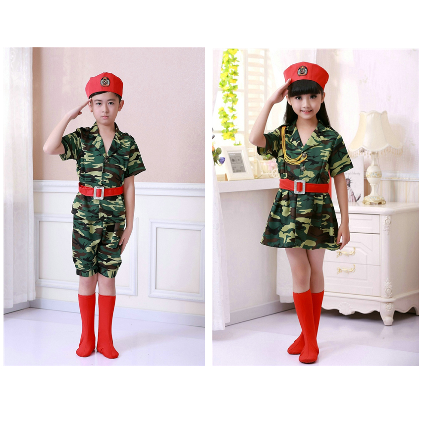 100-160cm Children Army Soldier Military Uniform Children Camouflage Stage Performance Costumes Boys Girls Tactical Suits
