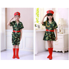 100-160cm Children Army Soldier Military Uniform Children Camouflage Stage Performance Costumes Boys Girls Tactical Suits(China)