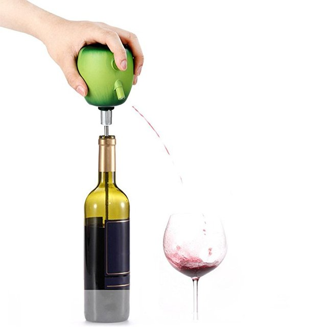 Wine Pourer Cider Electric Decanter Pump Apple Design with Food Grade Stainless Steel Sucker Wine Accessories for Home Bar