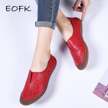 EOFK Women Flats Shoes New Genuine Leath