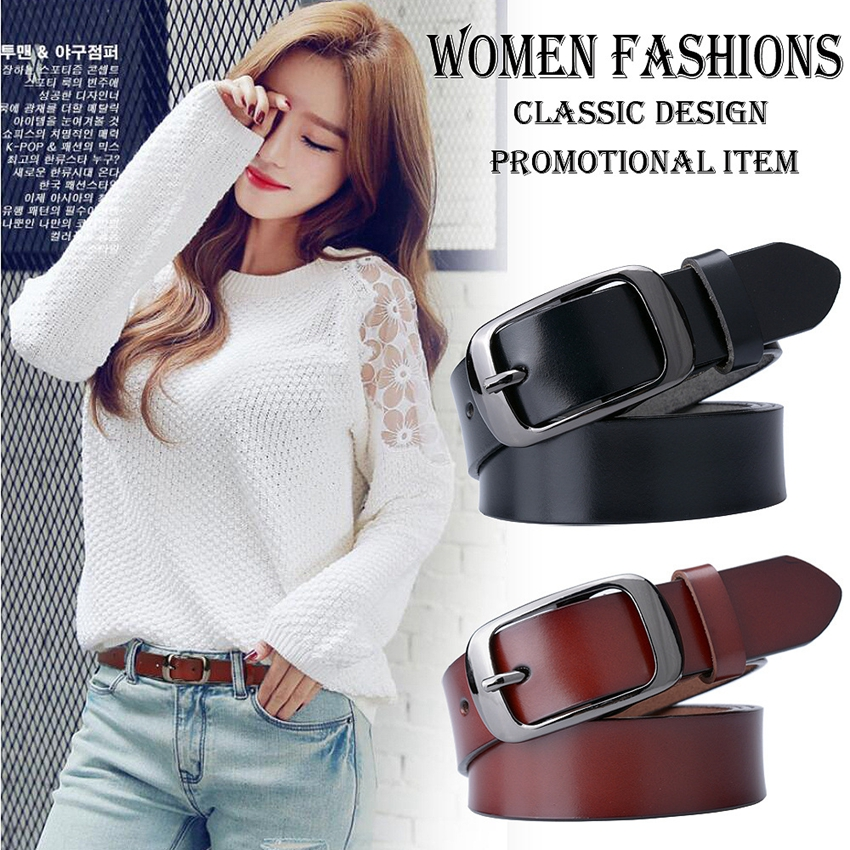 New Designer Fashion Women's Belts Genuine Leather Brand Straps Female Waistband Pin Black Buckles Fancy Vintage For Jeans