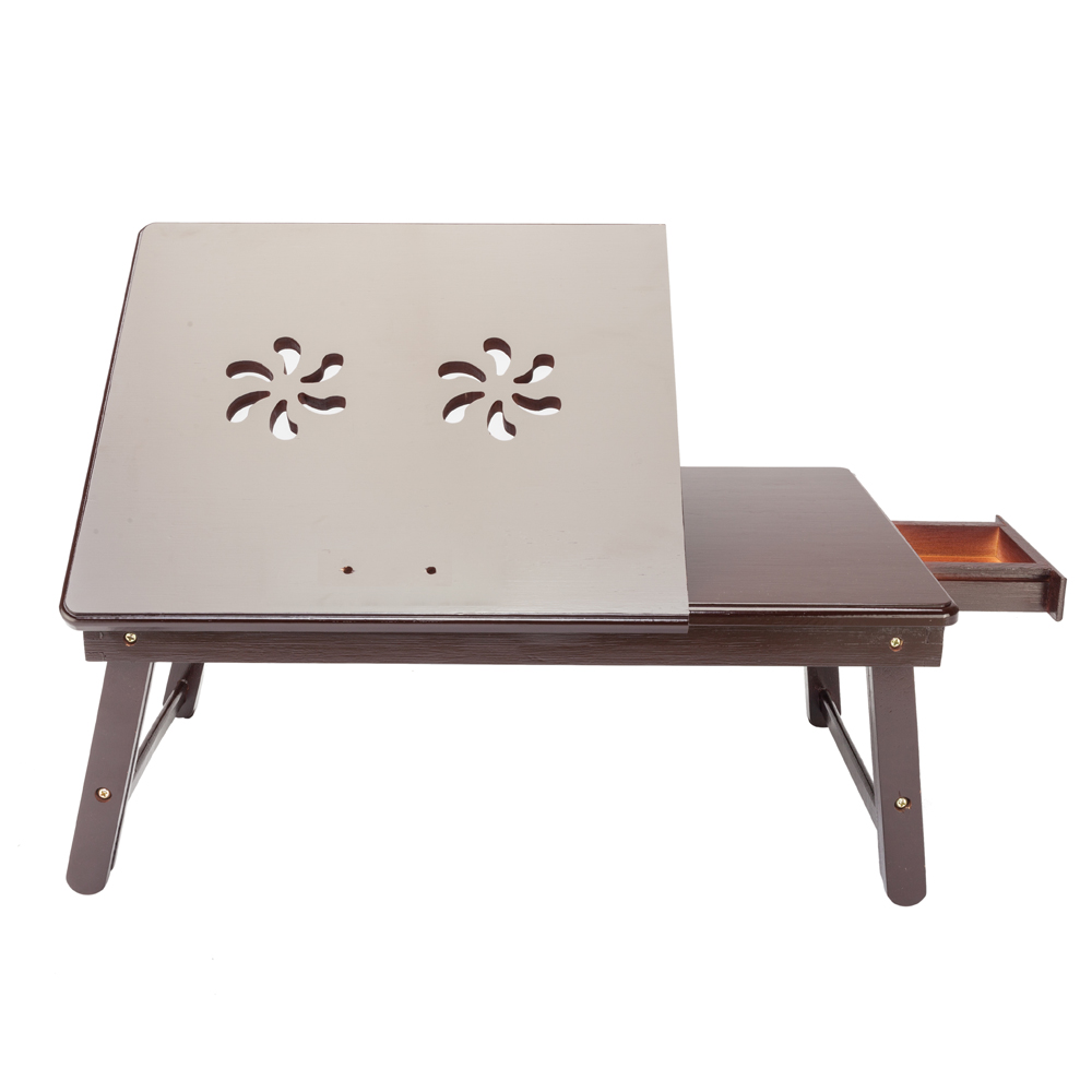 【US Warehouse】Retro Double Flowers Pattern Adjustable Bamboo Lap Desk Tray Dark Coffee Free Shipping USA Drop Shipping
