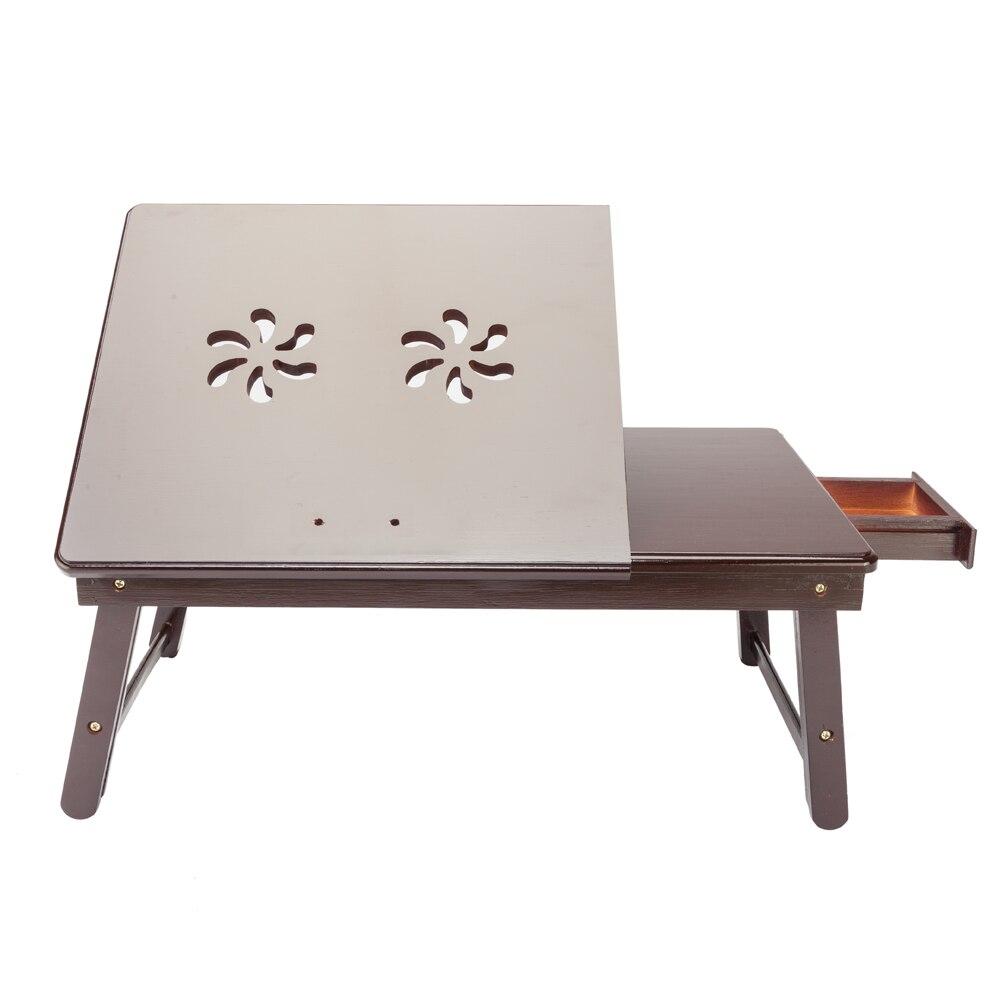 【US Warehouse】Retro Double Flowers Pattern Adjustable Bamboo Lap Desk Tray Dark Coffee