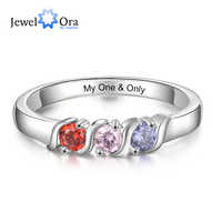 Personalized Engraved Name Promise Rings for Women Customized 3 Birthstones Mother Ring Gift for Family (JewelOra RI104025)
