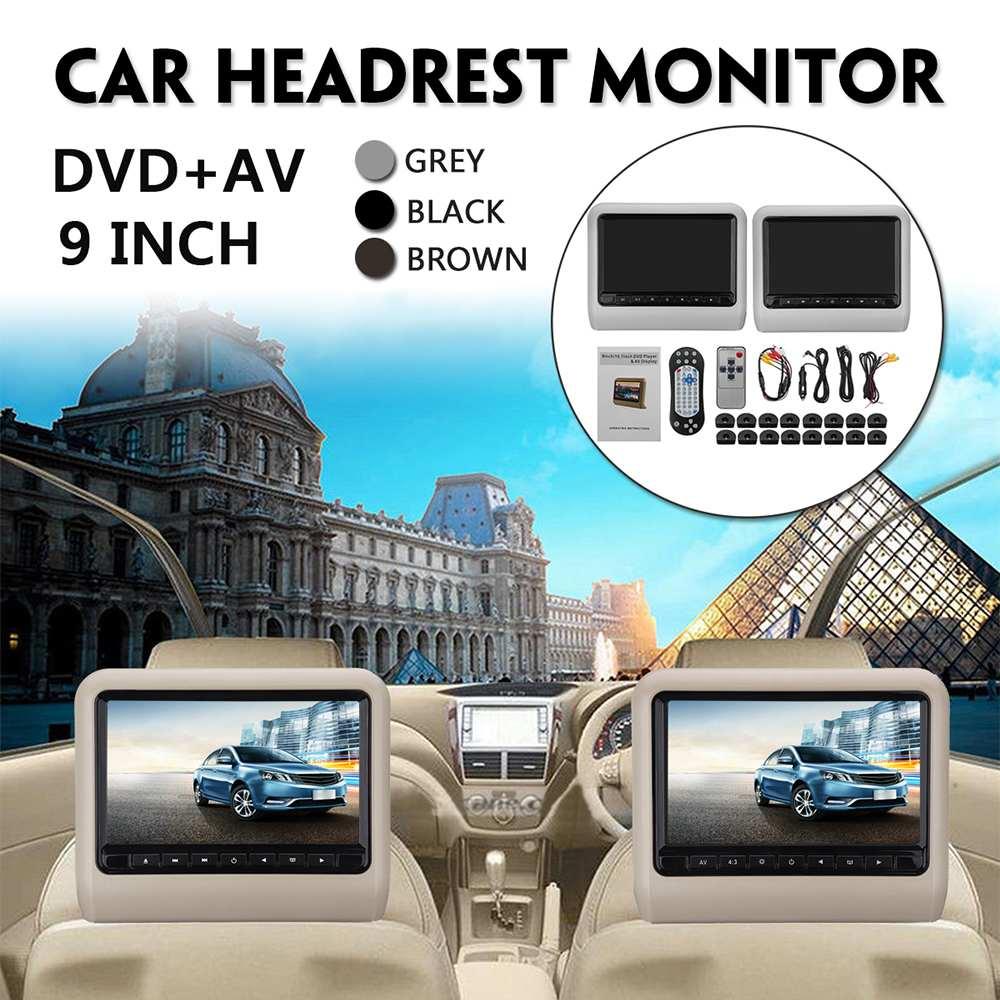 2pc Display 9 Inch Auto Kopfstütze Monitor Hinten Sitz Unterhaltung System DVD Player AV Display mit Fernbedienung Unterstützung USB SD