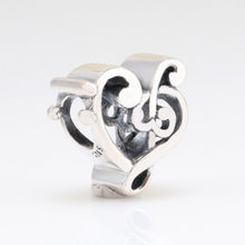 Authentic 925 Sterling Silver Clip Hollow Charm Music Note String Decoration Fit Original Pandora Bracelet For Women Diy Jewelry(China)