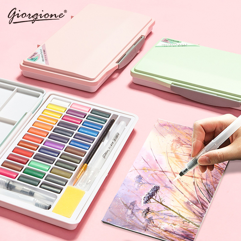 Giorgione Macarons Solid Watercolor Pigment Set 24/36/48 Colors Children Packing Portable With Water Brush Hook Art Supplies
