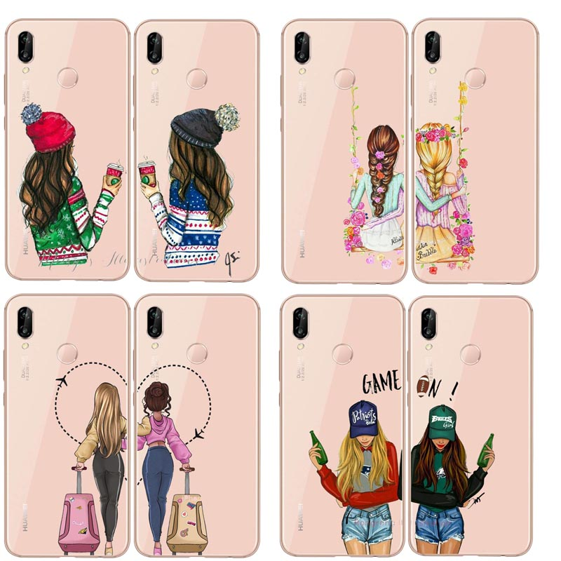 Girlfriends Girls <font><b>Bff</b></font> Best Friends Forever Soft TPU Cover Phone Case For huawei P10 P20LITE P30 P30Por P8 P9LITE mate20LITE image