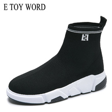 E TOY WORD Stretch Breathable women-flat ankle sock boots women Casual Soft Wedge Platform High-top zapatillas mujer Women Boots