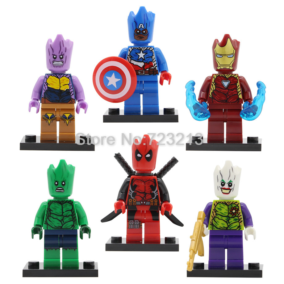 Super Hero Figure Single Sale Iron Man Thanos Captain America Hulk Joker Deadpool Building Blocks Models Bricks Toys Legoing