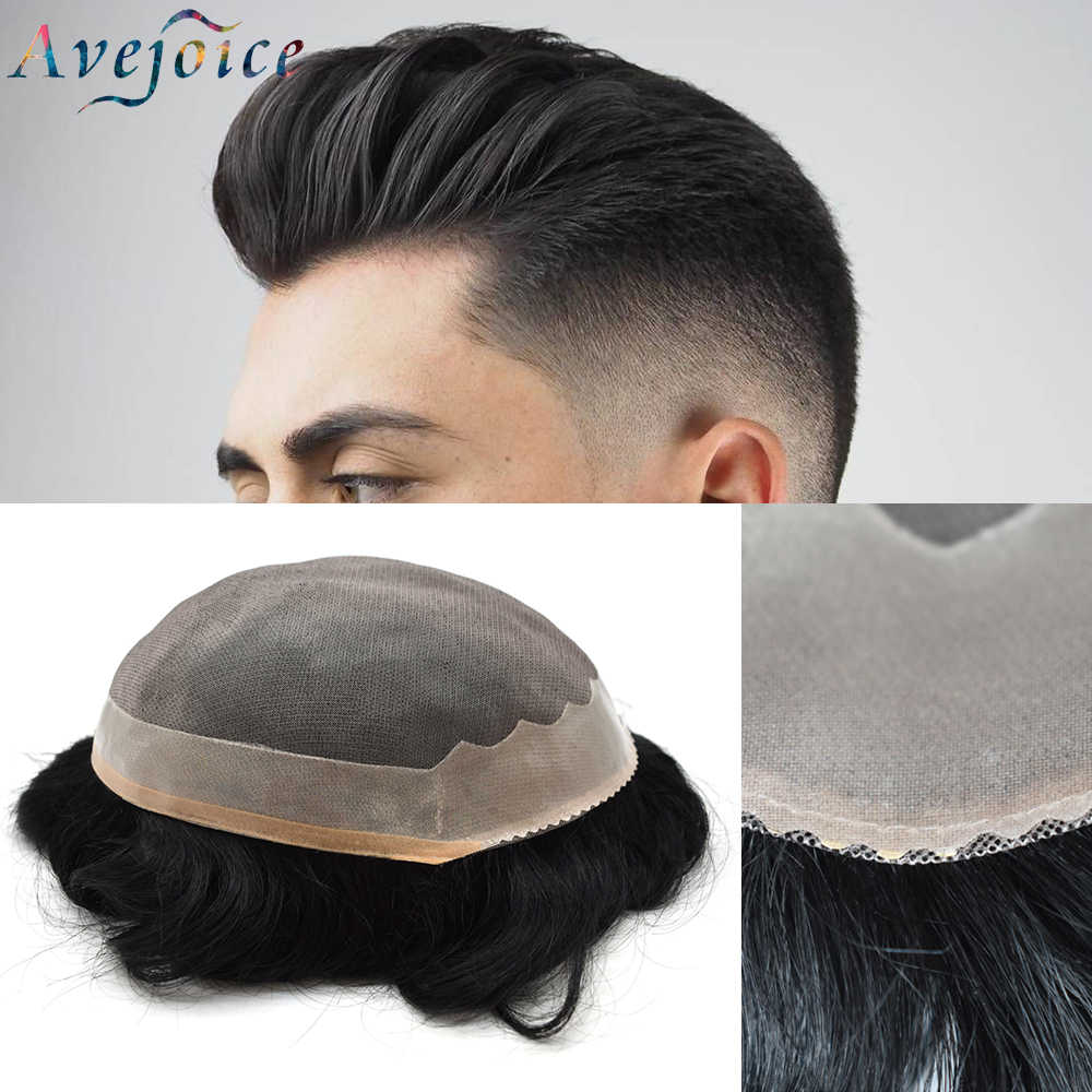 AVEJOICE MONO&PU Men Toupee Durable Hairpieces Indian Human Hair Replacement  Remy Natural Hair System for Males Men Wig