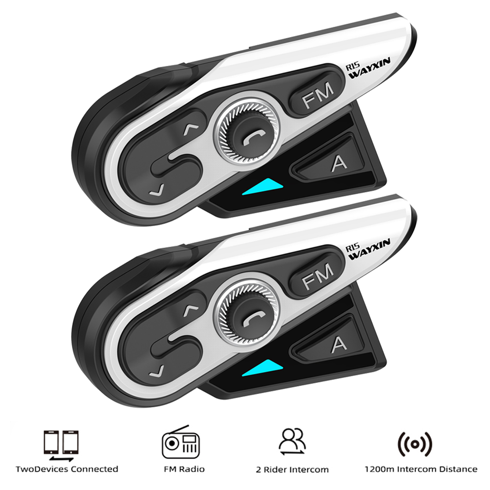 WAYXIN 1200M Bluetooth Intercom Motorcycle Helmet Headsets 2 Rider BT Wireless Intercom Moto Interphone R15 FM Music sharing