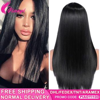 Brazylijski Straight360 koronka zamknięcie Remy ludzki włos włosów peruki 250 gęstości HD przezroczysty brazylijska peruka typu Lace Pre oskubane z dzieckiem włosy tanie i dobre opinie piaoyi Proste Remy włosy Średnia wielkość Średni brąz Ciemniejszy kolor tylko Swiss koronki Brazylijski włosy 13x4 Lace Frontal Wigs