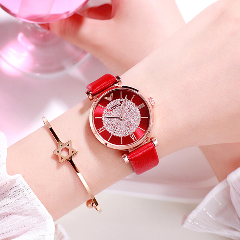 2019 Luxury Brand Elegant Ladies Women Watches White Leather Strap Quartz Wristwatch Fashion Ladies Watch For Women Dress Clock