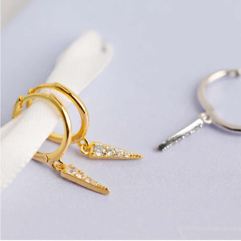 الأزياء الشعبية الكورية S925 فضة طويل مثلث تلميح مخروط مجموعة الأبيض الزركون شخصية قطرة مثلث أقراط brincos
