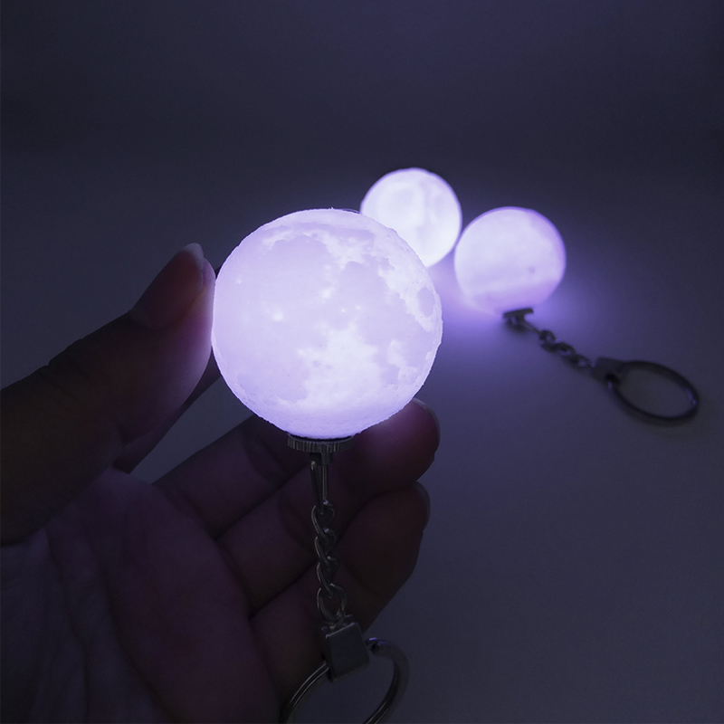 2019 NEW 3D Print Moon Lamp 4cm Novelty Moon Lamps Keychain Button Battery Powered Key Holder Bag Pendant Baby Gift