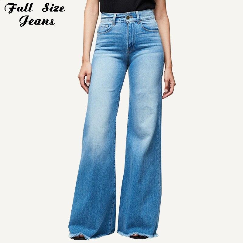 Plus Size High Waist Wide Leg Frayed Hem Long Jeans 3Xl 4Xl Bleach White Wash Bell-Bottom Denim Pants Trousers Mom Jean