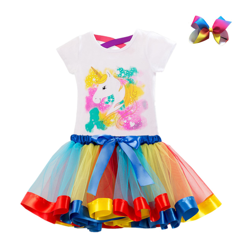 Unicorn Children's Clothing Sets Baby Girl Clothes Summer Princess Party Tutu Unicorn Costume Dress Kids Birthday Outfits Suits 4