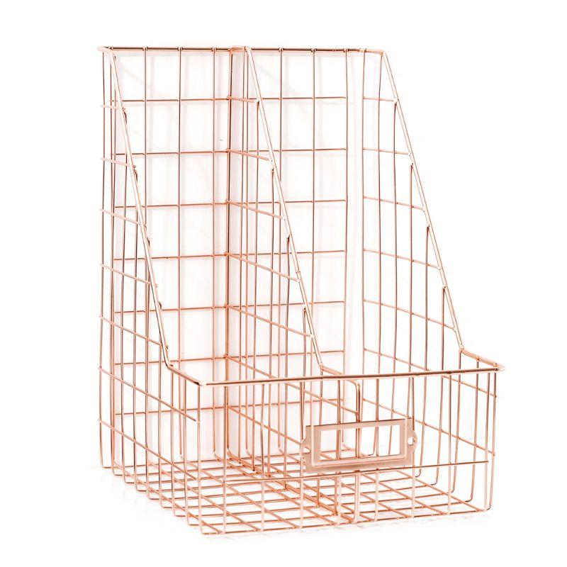 Nordic Wrought Iron Double Grid File Holder Desk Shelf Magazine Book Storage Rack Organizer