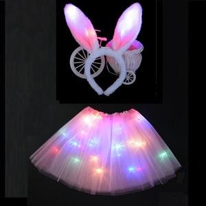 Women Girl LED Light Wire Tutu Glow Bunny Cat Ear headband Rabbit Costume Birthday Glow Hen Party Skirt Fancy Dress Baby Shower(China)