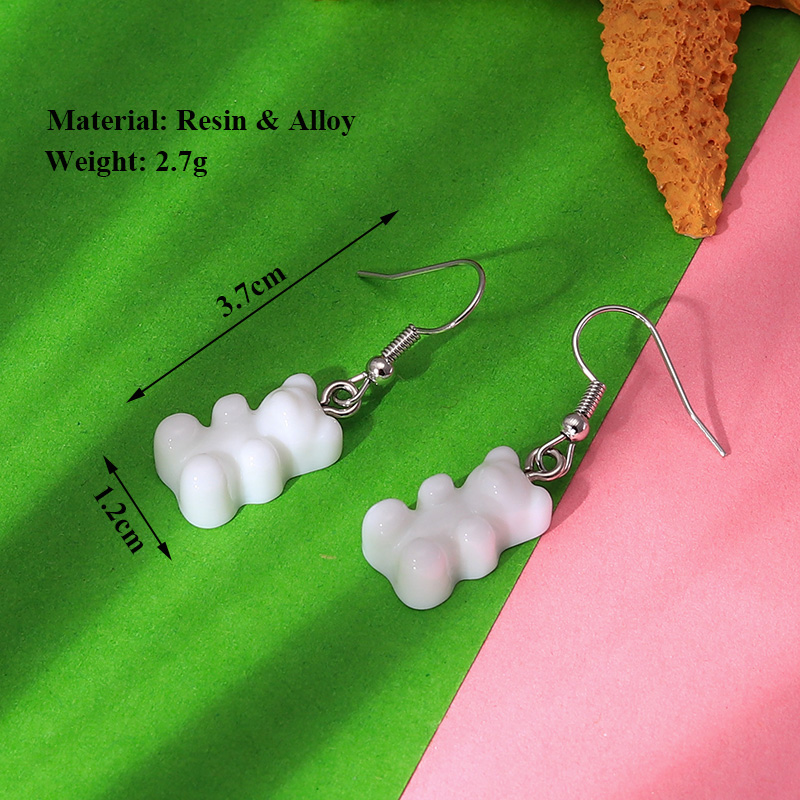 H32bb8c0e39de476c919cb3b6b9b7a19eZ - 1 Pair Creative Cute Mini Gummy Bear Earrings Minimalism Cartoon Design Female Ear Hooks Danglers Jewelry Gift