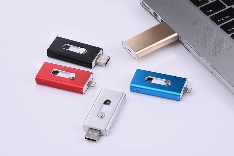 Usb 3.0 OTG USB Flash Drive 32GB Pen Drive Flash Disk 8GB 16GB 64GB 128GB pendrive 3 in 1 Micro Usb Stick per iPhone/Android/PC
