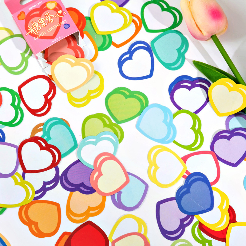 45pcs/box Colorful Heart Decorative Paper Sticker For Laptop Scrapbook Daily Planner Label Diary Sta