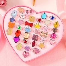 36pcs Children kids rings Little Girl Makeup Jewelry Adjustable Rings in Box, Girl Pretend Play and Dress up Rings Random Shape