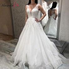 Платье Свадебное ТРАПЕЦИЕВИДНОЕ с аппликацией глубоким v образным