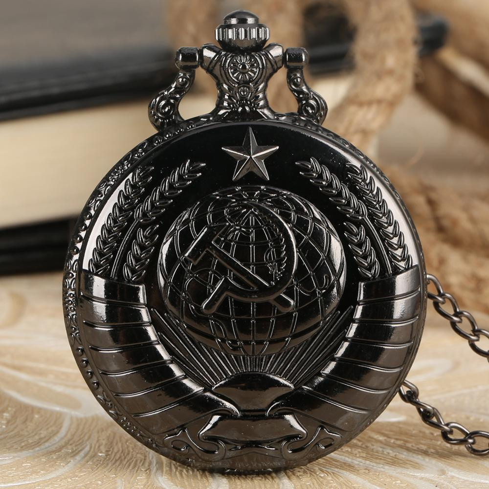 Hot Sale Black Star Communism Men Quartz Pocket Watch Cool Men's Best Gifts Fob Watches Relogio With Pendant Necklace Chain Cccp