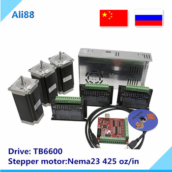 Nema 23 Stepper motor set:motor +TB6600 driver+ breakout board+350W power supply CNC Router 3 axis kit