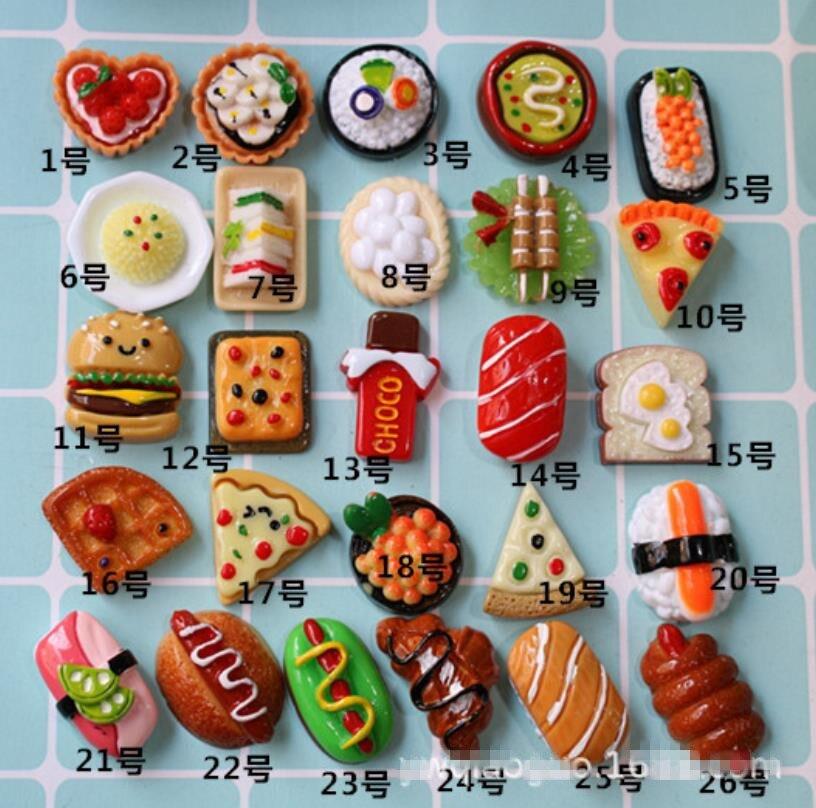kawaii Cute Resin Bread/Hamburg/ Sushi, cake, chocolate Simulation Food Art Supply Flatback Cabochon DIY Craft Decoratiq