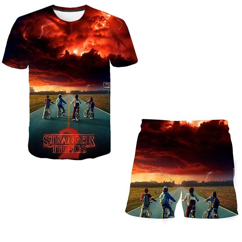 Stranger Things Suits T Shirt And Short Children Sets Top+shorts 2pcs Sets Children Clothing Sets Boys Girls 3d Print Polyester