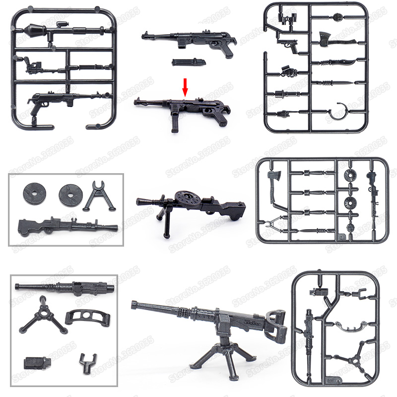 Legoinglys Ww2 Military Figures Weapons Assemble Army Light Machine Guns Building Block Force Soldier Set Moc Christmas Gift Toy