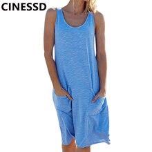 Женское трикотажное платье майка без рукавов cinessd голубое