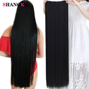 SHANGKE 100 CM Long Straight Women Clip in Hair Extensions Heat Resistant Synthetic Piece Black Dark brown Hairstyle
