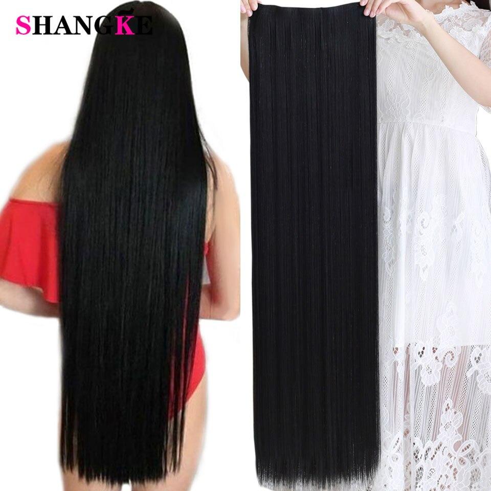 Shangke 100 cm de comprimento em linha reta grampo feminino em extensões de cabelo sintético resistente ao calor parte do cabelo preto marrom escuro penteado