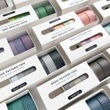 8 pçs/set cor sólida linhas básicas grade washi fita adesiva bonito mascaramento diy scrapbooking arte suprimentos decoração papelaria