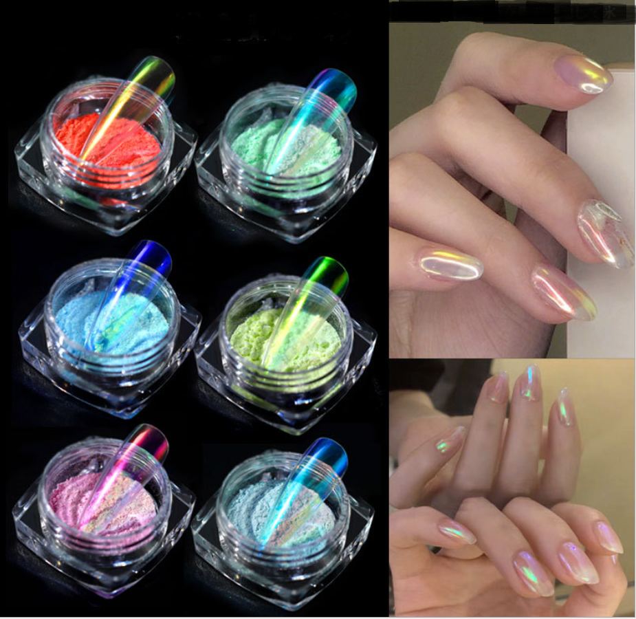 Ice transparent nude powder extreme light powder net red nail magic color Mermaid mirror flour magic mirror powder fairy powder