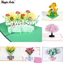 Get Well Soon Card Pop-Up Flowers Cards Sympathy Mothers Day Wedding Anniversary Birthday 3D Greeting Cards All Occasions