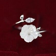 Cut Zircon Crystal Leaf Shell Flower Adjustable Ring for Women Ladies Girls Silver / Gold Color Finger Bague Jewellry Gift rhinestoned flower leaf finger ring