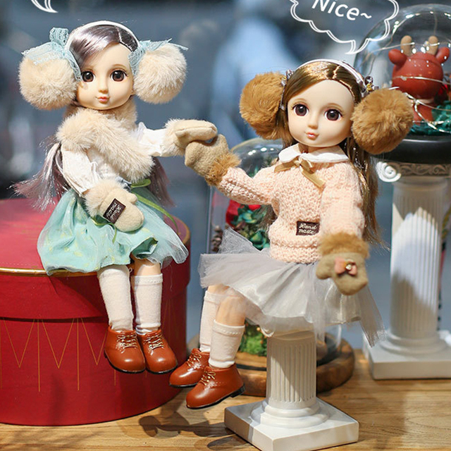 30CM BJD Doll 15 Ball Joints Bjd Dolls With Winter Outfits Dress Girl Princess Gift Make up Girls DIY BJD Toys Best Gift for Kid 6