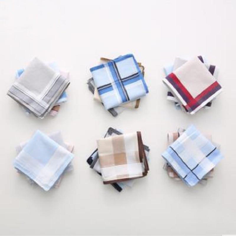 12pcs 43*43cm Fashion Men 100% Cotton  Plaid Light Handkerchief