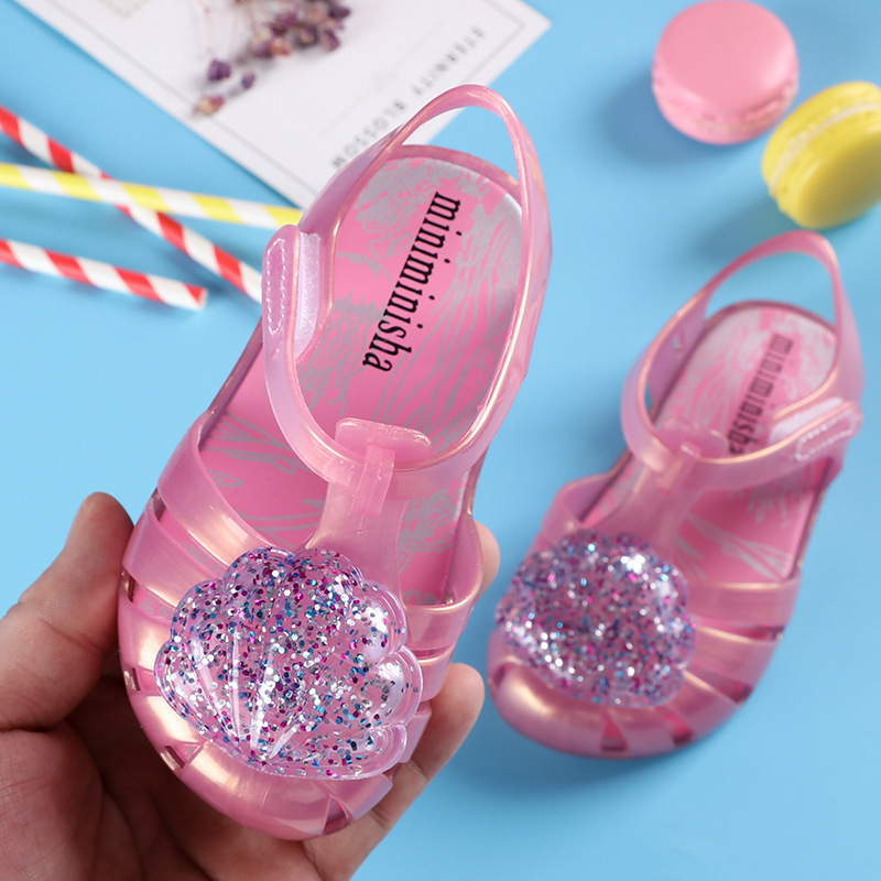2020 Summer Girls Sandals Kids Shoes Sequin PVC Jelly Mini Melissa Sandalia Infantil Children Casual Shoes Baby Princess Sandal