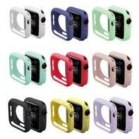 Funda para carcasa de reloj Apple, 44mm, 40mm, accesorios de 42mm y 38mm, Protector de pantalla de parachoques de silicona, serie Applewatch 6 5 4 3 SE