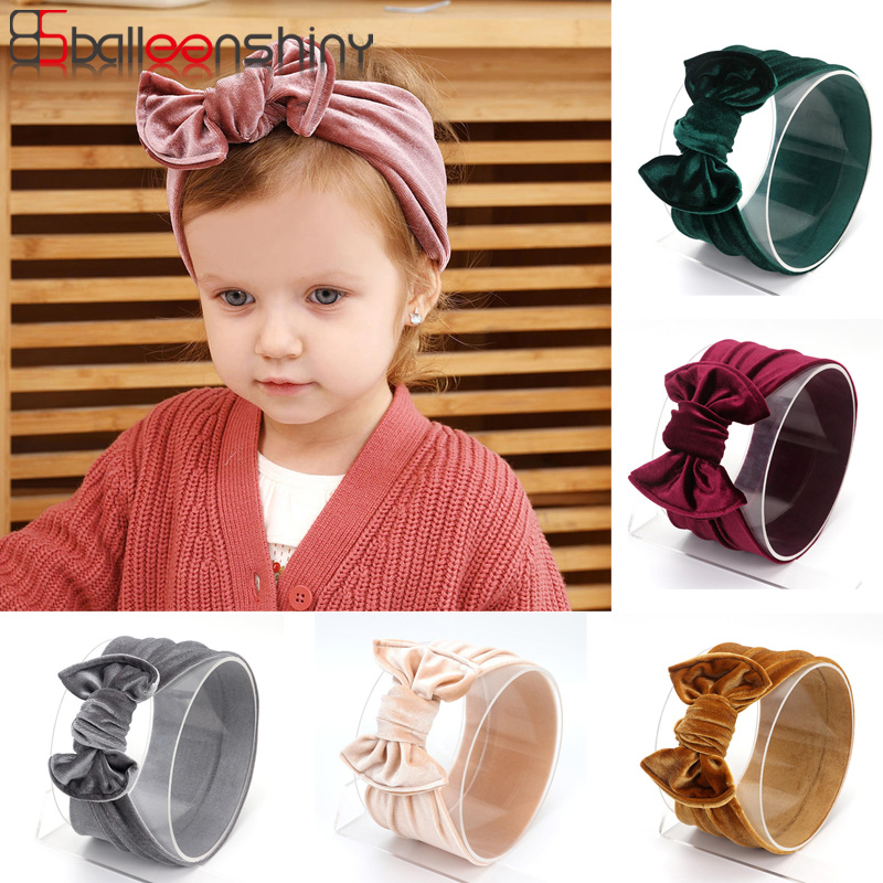 Balleenshiny 2019 New Children's Hair Band Gold Velvet Bow Infant Baby Headbands Newborn Photography Props Baby Accessories