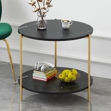 Деревянный журнальный столик с двумя слоями книг лоток для хранения фруктов маленький круглый стол для гостиной диван прикроватный уголок