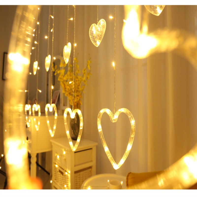 2.5M LED Icicle String Lights Christmas Fairy Light Garland Home Garden Flick Heart LED For Wedding Party Curtain Decoration